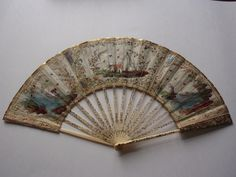 Antique Fan with 'Fishermen' design. Hand-painted, with silk leaf, painted mother-of-pearl and straw-work.  Restored by