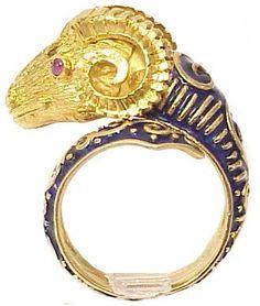 Etruscan 18K Gold, Ruby, Diamond, Enamel Ram Head Ring