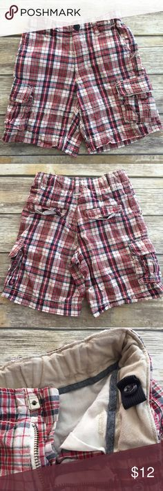 Gap Kids Cargo Shorts Blue plaid Cargo Shorts by Gap Kids. Adjustable waist, slide clasp closure, side Cargo pockets. Very good condition. These are size 5 regular. GAP Bottoms Shorts