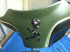 Harley fairing, gold leaf, custom paint, airbrush pin up