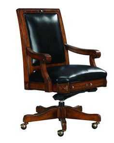 Best selection of sophisticated Desk Chairs to work  - Dark brown wood and dark leather