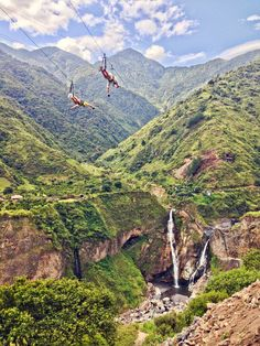 Biking the #Waterfall Route is a must-do excursion from Baños, #Ecuador. Along the way there are dozens of dramatic #ziplines with temptingly low prices. Don't hold out hoping the best will be last -- my favorite was among the first, at Cascada Agoya. For $15, we zipped along this dramatic gorge and back again. Note: Location on map is approximate! Discovered by Alexandra Baackes at Cascada Agoya, Tungurahua, Ecuador