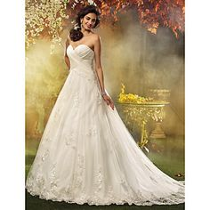 A-line Princess Sweetheart Court Train Appliques Tulle Wedding Dress – USD $ 147.49