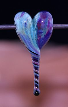 Tranquility Heart Handmade Lampworked Glass Bead OOAK by ninaeagle