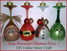 Easy Handmade Christmas Decor - DIY Dollar Store Craft You are going to love making this Easy Handmade Christmas Decor! A set of adorable painted wine glasses, a fun holiday DIY Dollar Store Craft! Dollar Store Christmas, Dollar Store Crafts, Dollar Stores, Dollar Dollar, Christmas Wine Glasses, Diy Wine Glasses, Wine Glass Crafts, Wine Bottle Crafts, Wine Bottles