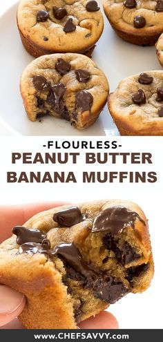 Flourless Peanut Butter Banana Muffins couldn't be easier. Simply add all of the ingredients to a blender and pulse to combine that's it! Best of all they are healthy, gluten free and make an awesome breakfast or dessert! Ready in just 30 minutes. Healthy Sweet Snacks, Healthy Sweets, Healthy Dessert Recipes, Healthy Baking, Delicious Desserts, Healthy Muffins, Healthy Banana Recipes, Peanut Recipes, Easy Healthy Deserts