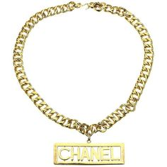 Necklace CHANEL ($1,580) ❤ liked on Polyvore featuring jewelry, necklaces, cuban link necklace, chanel jewellery, cuban chain necklace, statement bib necklace and 80's fashion jewelry