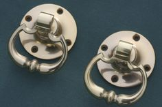 Buy Dutch Brass Drop Ring Handles online - A pair of drop handles with a traditional beaded detailing on the handle. Cast in solid brass which is unlacquered.