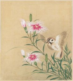 'Tree Sparrow and Wild Carnations'(first half of the 19th century). Silk painting by Artist Unknown, JapaneseImage and text courtesy MFA Boston
