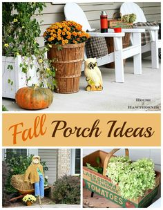 Lots of cute ideas for your fall porch - an eclectic, vintage, farmhouse fall porch - via houseofhawthornes.com