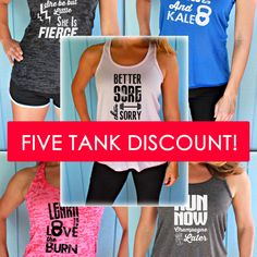 Five Tank Discount. Burnout or Flowy Workout Tank Tops. Motivational Quote Tanks. Inspirational Quote. Fitness Motivation. Cute Workout Tanks.