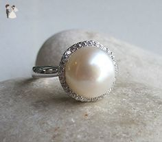 Halo Pearl Engagement Ring- Round Freshwater Pearl Promise Ring- Wedding and Bridal Ring- Pearl June Birthstone Ring- Silver Gemstone Ring - Wedding and engagement rings (*Amazon Partner-Link)