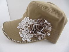 Cadet Hat,  Khaki Hat, Military Cadet Hat, Woman Hat, Lace, Strip Flowers, Cross, Women Cadet Caps, Rhinestone Cadet Cap, Teens, Girls Hat on Etsy, $23.00