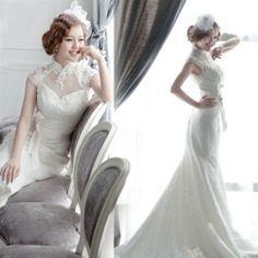 Lace High Neck Short Sleeve Court Train Mermaid Wedding Dress