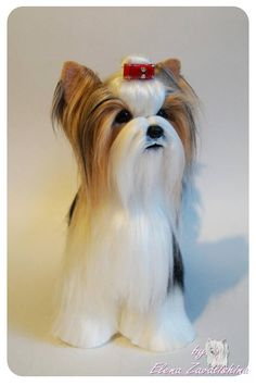 Party Yorkie/ Needle felted Animal /Biewer