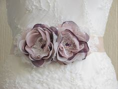 Champagne ribbon sash Purple blush sash by WhiteBridalBoutique
