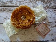 Ivory Lace Flower Headband Vintage Handmade Boutique Bow Baby Girl Toddler Bling | eBay