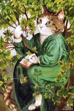 Cat reading and naturalist / Gata lectora y naturalista (ilustración de Susan Herbert)