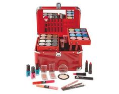 Perfect Colour Ultimate Make-Up Carry Case   Complete make-up kit in a ruby red metallic carry case. Contains a wide range of essentials with extra space to add more. Perfect for frequent travellers, getting dolled up at a friend's house, or keeping things tidy and organised. Contents: 24 eye shadow colours, 3 nail polishes, 2 blushers, 2 dual-ended lip glosses, Mascara, 3 lipsticks, 2 lip gloss tubes, 2 eye pencils, 3 brushes, 2 sponge, applicators, Lip pencil, Face powder, Eyebrow/..