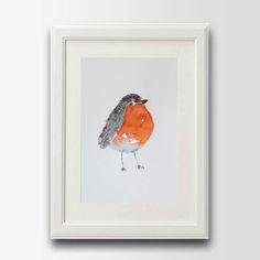 Roodborstje schilderij vogel schilderij animal door ZenWatercolors