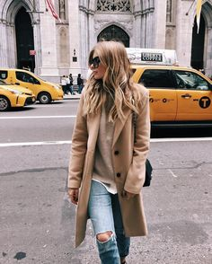 Camel Coat - Xenia van der Woodsen #nyc I love light denim and camel colours together. Classic.