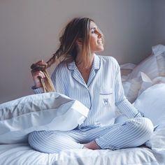 representing boyish pajama for great mornings! Cute Sleepwear, Lingerie Sleepwear, Nightwear, Pyjamas, Silk Pajamas, Loungewear Outfits, Pajama Outfits, Pajamas All Day, Cute Pajamas