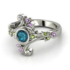 Round London Blue Topaz Sterling Silver Ring with Green Tourmaline & Amethyst - Flamenco Ring | Gemvara