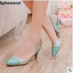 """Fingers crossed but I'm hoping you'll love this: 1.7"""" Pointed Toe Back Strap Western Mixed Color High Heel S...  http://periwinklefashion.com/products/ladies-1-7-sexy-pointed-toe-back-strap-western-mixed-color-high-heel-sandals-shoes-women-big-size-shoes4-14-pink-blue-white?utm_campaign=crowdfire&utm_content=crowdfire&utm_medium=social&utm_source=pinterest"""