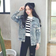Korean Style - printing lapel single-breasted long-sleeved denim jacket