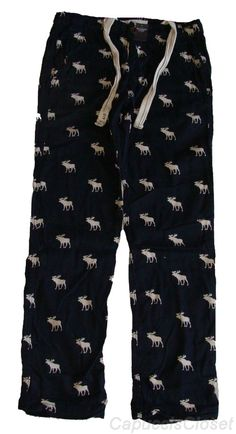 Abercrombie & Fitch ROCKY FALLS Moose Flannel NAVY BLUE Sleep Pajama Pants