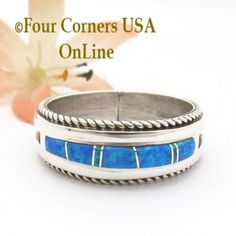 Size 13 Blue Fire Opal Inlay Band Ring Navajo Artisan Wilbert Muskett Jr WB-1823 Four Corners USA OnLine Native American Indian Silver Jewelry Wedding Band Styles, Wedding Ring Bands, Silver Jewellery Indian, Silver Jewelry, Opal Band Ring, Purple Fire, Native American Rings, Sterling Silver Mens Rings, Blue Rings