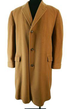 7bcce26634 Mens Vintage 1960s Cashmere Overcoat - 100% Cashmere Coat - Pick-Stitch  Detail - chest 46 XL