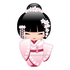 Vector illustration of a cute oriental bride kokeshi doll in a light pink/white bridal kimono with a dark red undergarment. The girl has white sakura fl. Momiji Doll, Matryoshka Doll, Kokeshi Dolls, Kokeshi Tattoo, Asian Quilts, Doll Drawing, Doll Tattoo, Asian Doll, Japanese Paper