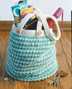 Enviro-Totes - Enjoy the craft of crochet, help the environment, and look stylish, too, with these FOUR designs! Ruth Shepherd's Enviro-Totes, first published in 1992, are on the mark today! Each of the four styles is crocheted using medium weight cotton yarn. The dense patterns offer sturdiness and textured good looks. The Roomy Tote shown on the front cover measures 16' x 16' x 8'; four of them can hold a week's worth of groceries for the average family of four, and one bag will…
