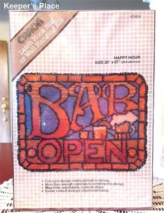 Caron BAR OPEN Latch Hook Rug Wall Hanging Kit Happy Hour 20 x 27 New Sealed #Caron