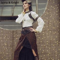 Two Pieces Sexy High Slit Black and Red Gothic Steampunk Long Skirt  SP149