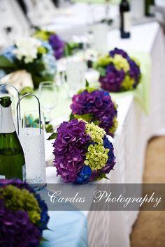 Hydrangea bridesmaid bouquets..green and purple!