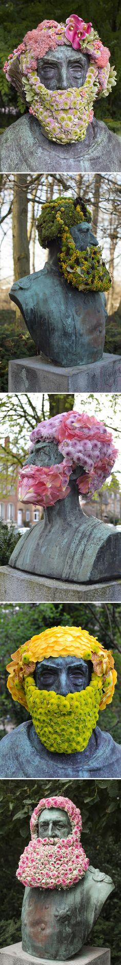 The Jealous Curator /// curated contemporary art /// geoffroy mottart Art Floral, Photomontage, Illustrations, Illustration Art, Street Art, Flower Bomb, Flower Art, Church Architecture, Public Art