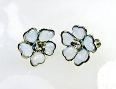 Vintage Earrings Light Blue Flower Blossom by SunburyVintageStore
