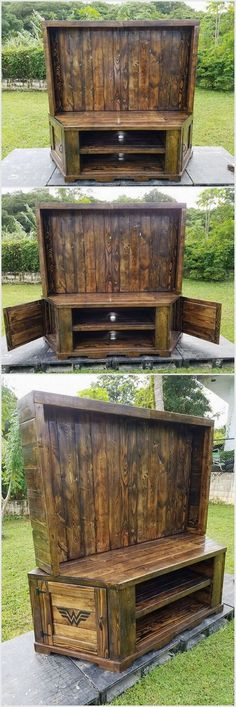 You can create this huge project from wooden pallets. It is a perfect furniture item to be placed at your lounge or TV room. We have made racks in it to put various items and also there are cabinets on the sides of it.