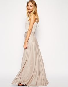 ASOS High Neck Pleated Maxi Dress
