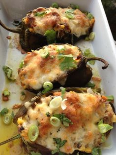 Stuffed poblano peppers! Definitely trying this w/ ground chicken and brown rice instead of sausage and cheese! Might even add a dollop of greek yogurt too!