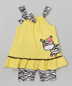 Look at this Yellow Zebra Tank & Shorts - Infant, Toddler & Girls on #zulily today!