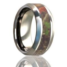 COPPICE     Beveled Edge Titanium Rng with 4mm Camouflage Inlay    |    6mm,  8mm