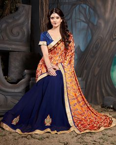 Orange Georgette Half and Half Saree With Blouse 70338