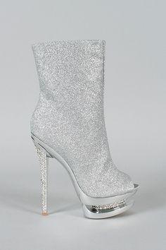 Ankle Bootie Glitter com Pedrarias Dourado e Prata
