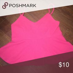 Pink Peplum Top Pink, textured peplum top. Very cute and only worn once! Has adjustable straps Forever 21 Tops
