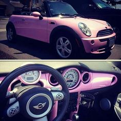 My car! I found my own car on the Pinterest world so I figured I'd re-pin it ;) Pink Mini Cooper Convertible - xoxkimberly