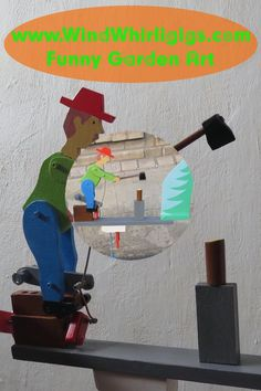 Lumberjack doll is driven by power of a wind. Woodworking Toys, Woodworking Projects, Garden Projects, Projects To Try, Plywood Projects, Wind Sculptures, Wind Spinners, Small Garden Design, Wood Patterns