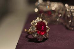 "The Richard Burton Ruby and Diamond Ring features a vivid ruby of 8.24 carats set in a diamond ring by Van Cleef & Arpels. The ring was a Christmas gift circa 1968. Taylor called the ruby ""the most perfect colored stone I'd ever seen."""